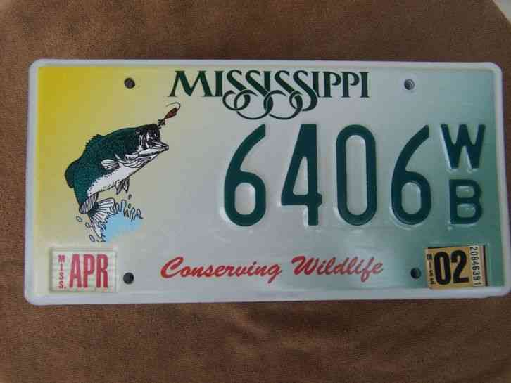 6406 wb 2002 mississippi bass fishing license plate 4 for Ms fishing license