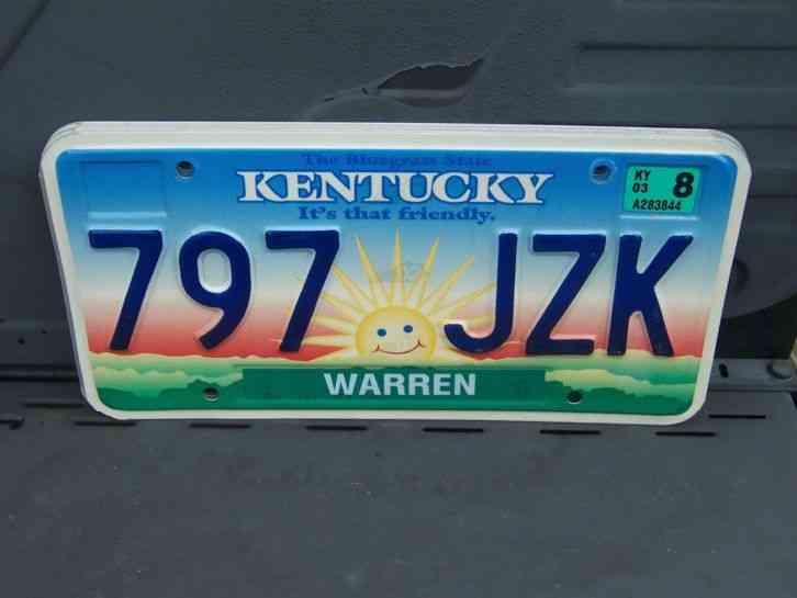 797 Jzk 2003 Warren County Kentucky License Plate 4 00