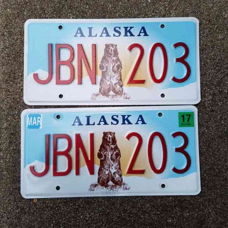 Alaska License Plate Lot 4 Different Plates Flag New