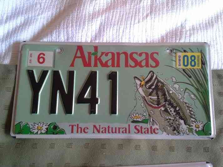 Arkansas bass license plate wildlife fish yn41 for Michigan fishing license prices