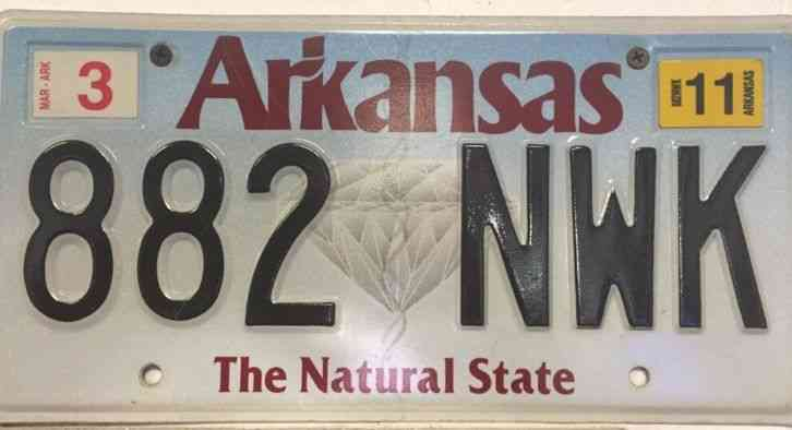 Arkansas license plate 882nwk for Nys fishing license prices