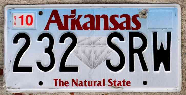 Arkansas the natural state license plate diamond version for Mississippi fishing license cost