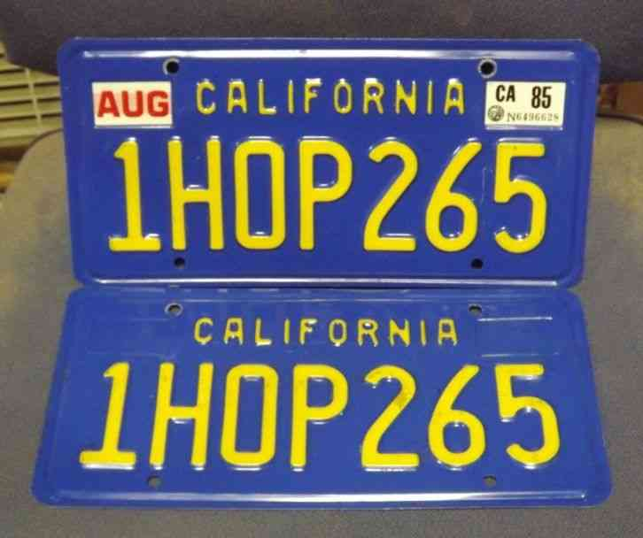 Blue And Gold California License Plates