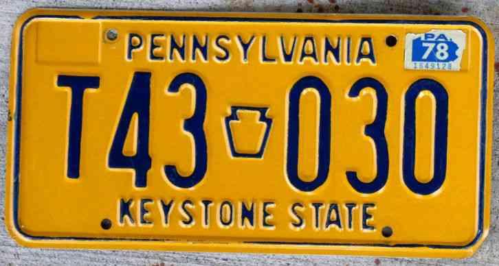 Blue On Orange Pennsylvania Keystone State License Plate