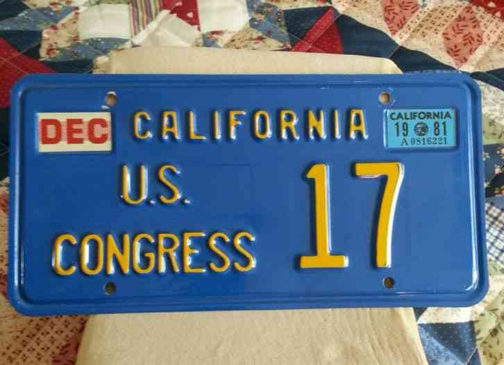 California Us Congress License Plate Political