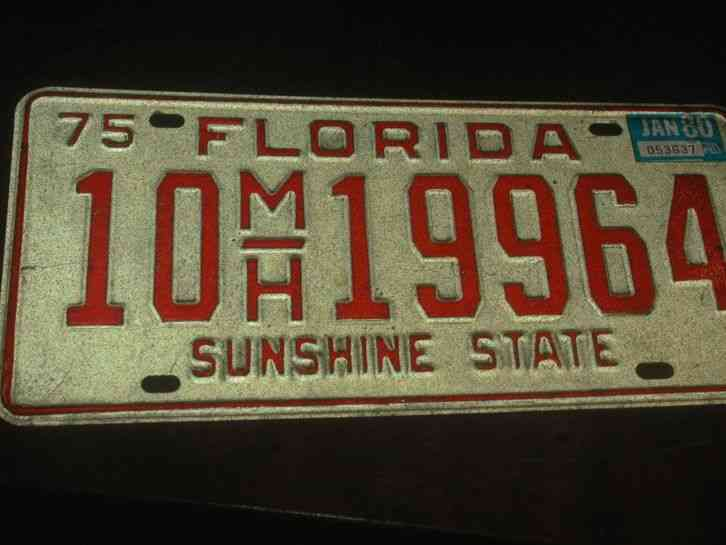 Collectible license plate florida good condition vtg 1975 for Florida fishing license price