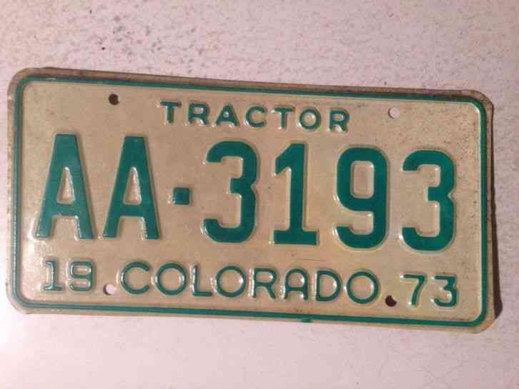 Tractor License Plates : Colorado co tractor license plate tag decent