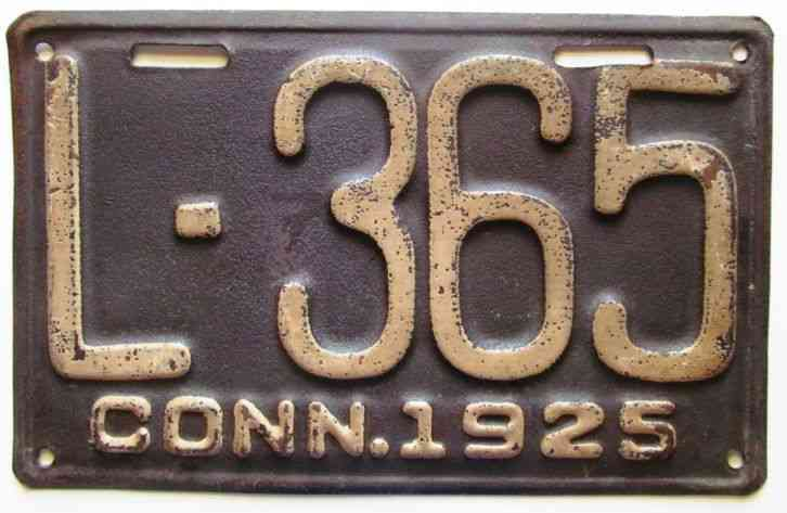 Connecticut 1925 License Plate L 365