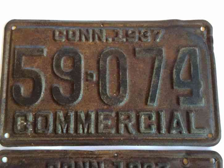 Cars For Sale In Arkansas >> CONNECTICUT 1937 COMMERCIAL LICENSE PLATES- PAIR