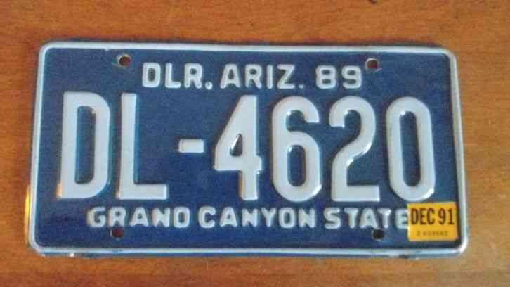 Dealer license plate arizona 1989 1991 for Fishing license az price