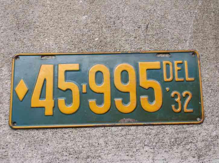 Delaware 1932 license plate 45 995 for Fishing license az price
