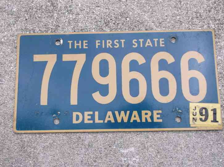 Rare 1983 black white delaware surf fishing tag license for Surf fishing nj license
