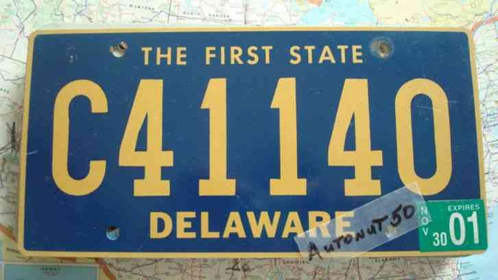Delaware surf fishing license plate vehicle permit 1982 for Florida fishing license phone number