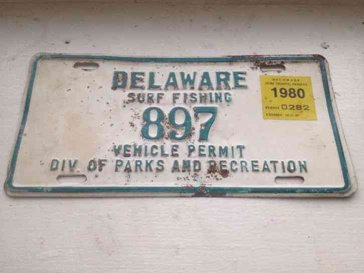 Delaware surf fishing license plate vehicle permit 1980 for North carolina surf fishing license