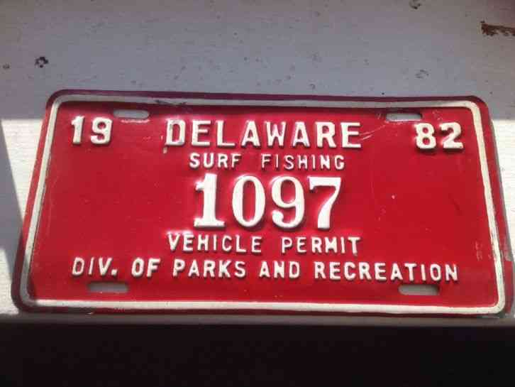Delaware surf fishing license plate vehicle permit 1982 for Pa fishing license prices