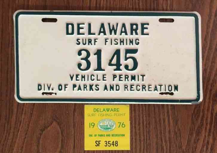 Delaware license plate 1957 tag very rare collector plate for North carolina surf fishing license