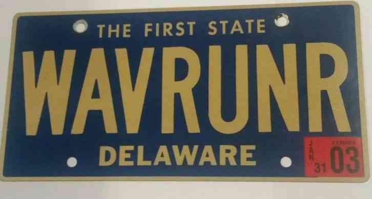 Delaware Vanity License Plate Wavrunr De Vintage Tag Beach