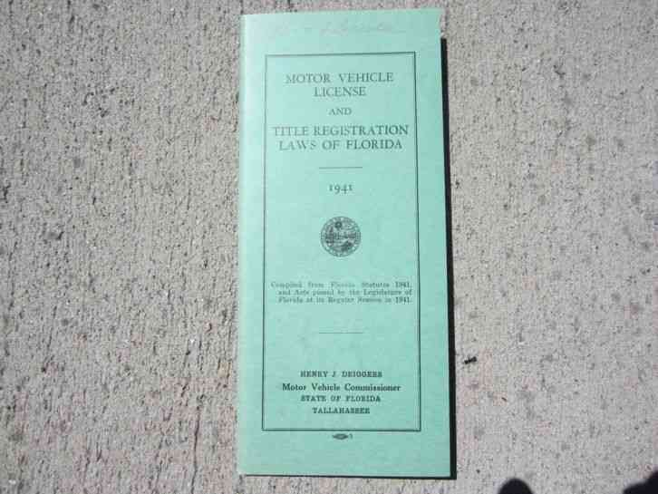 Florida 1941 Motor Vehicle License Plate Laws Booklet
