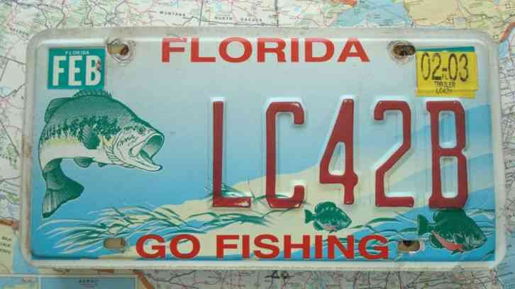 Florida 2003 go fishing license plate lc42b rare for Florida state fishing license