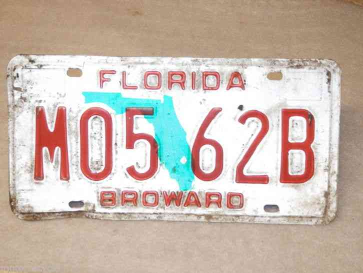 Florida motor vehicle license plate broward m05 62b for Broward motor vehicle registration