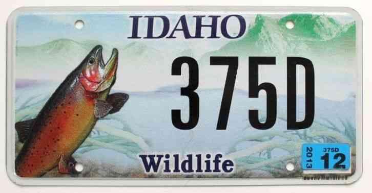 Idaho 2013 license plate 1a h227m ada county for Idaho fishing license