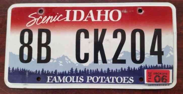 Id idaho vanity pnp license plate payless for Florida temporary fishing license