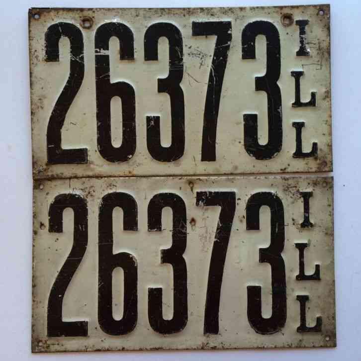 Illinois 1911 Pair License Plate Garage Old Car Tag Set