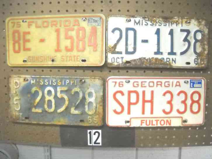 license plate 1 lot of 4 plates georgia florida. Black Bedroom Furniture Sets. Home Design Ideas