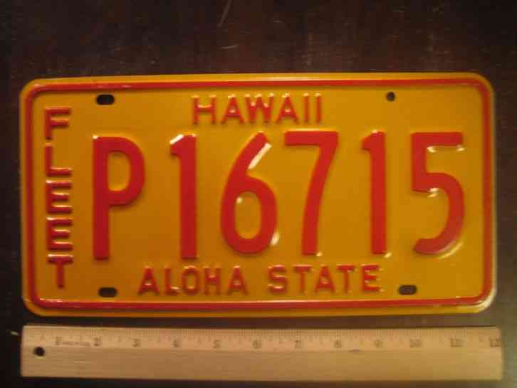 License plate hawaii fleet p 16715 state motto aloha for Az game and fish license