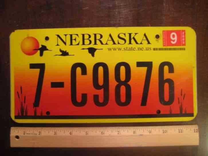 license plate nebraska sunset 3 birds 2005 7 c 9876. Black Bedroom Furniture Sets. Home Design Ideas