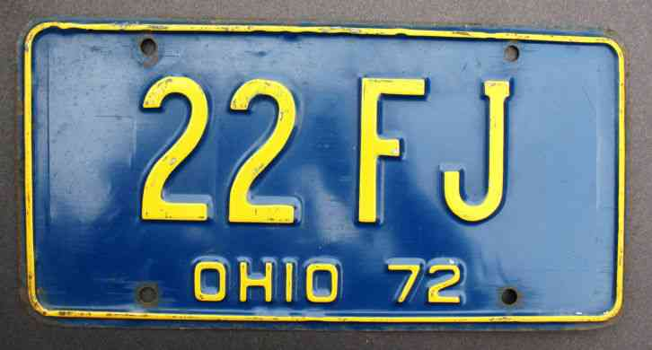 License Plate Ohio Usa 1972 22 Fj Blue And Yellow