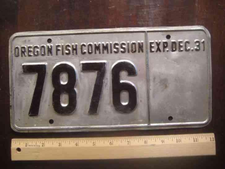 License Plate Oregon Fish Commission 7876 Comments