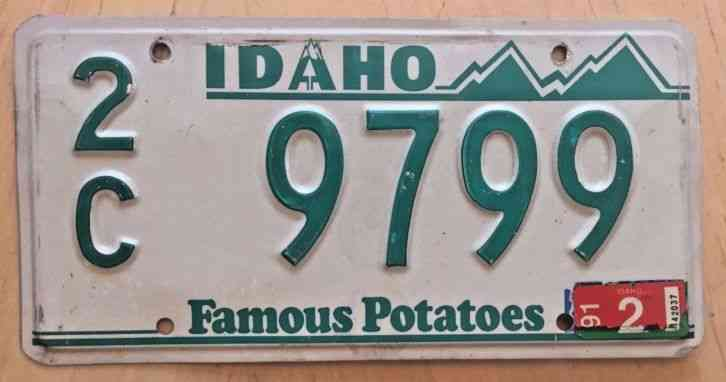 License plates idaho 1962 famous potatoes 2c 6 650 for Florida temporary fishing license