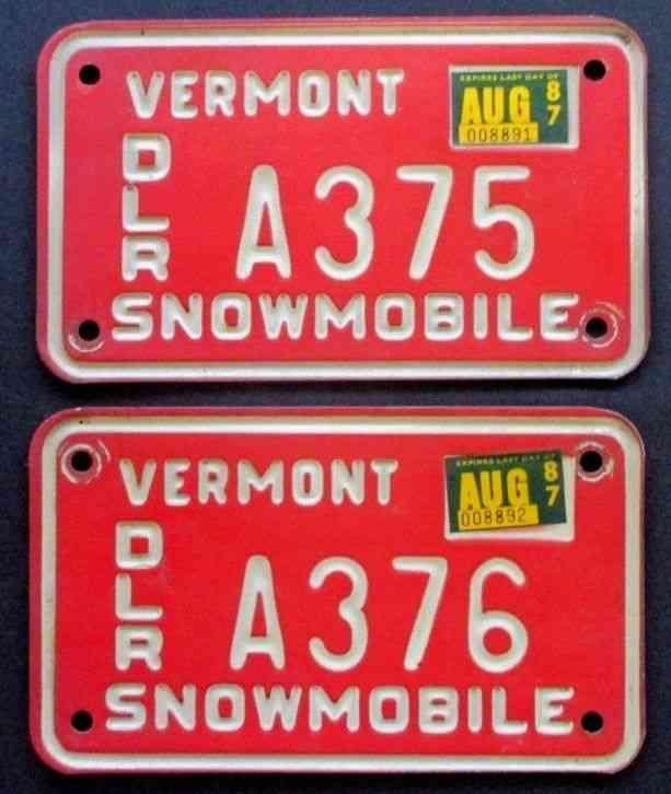 Lot Of 2 Vermont Snowmobile Dealer Plates A375 & A376