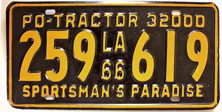 Tractor License Plates : Louisiana private owner tractor license plate old