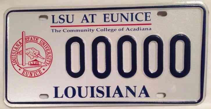 Louisiana State University Eunice License Plate Lsu