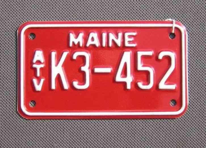 Maine Atv License Plate K3452