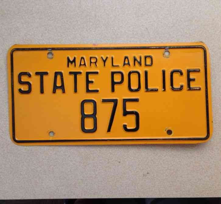 MARYLAND STATE POLICE LICENSE PLATE