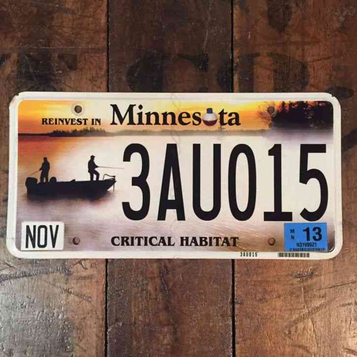 Antique 1954 minnesota license plate unusual number dyes for Fishing license minnesota