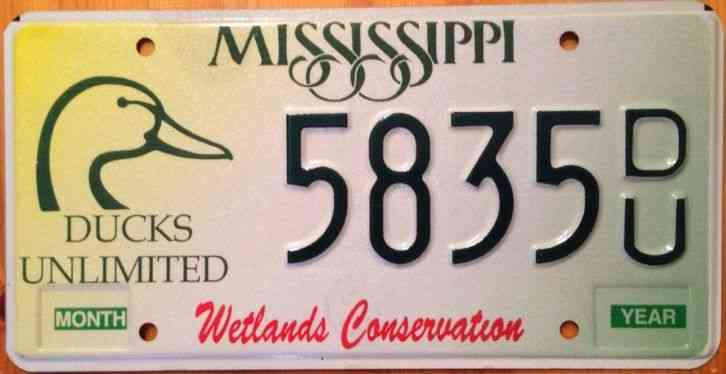 Mississippi ducks unlimited license plate wetlands hunt for Ma fishing license cost