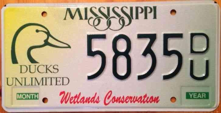 Mississippi ducks unlimited license plate wetlands hunt for Mississippi fishing license cost