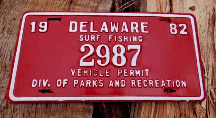 New 1982 delaware surf fishing vehicle permit license for North carolina surf fishing license