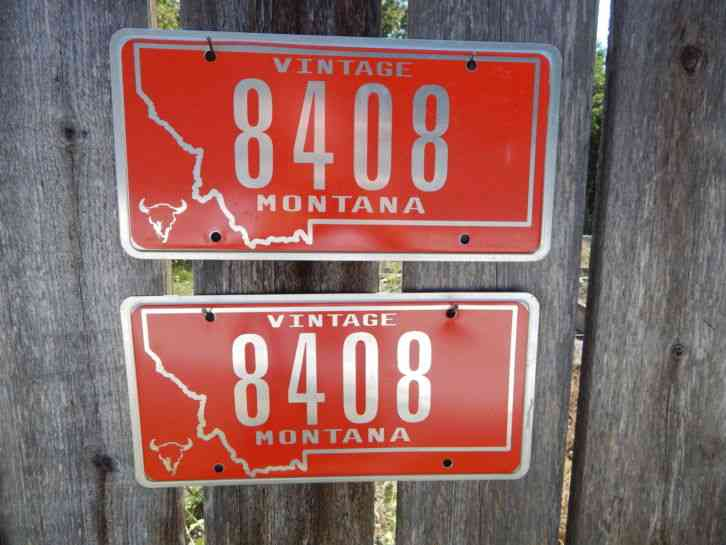 Nice Matching Set Of Montana Vintage License Plate Must
