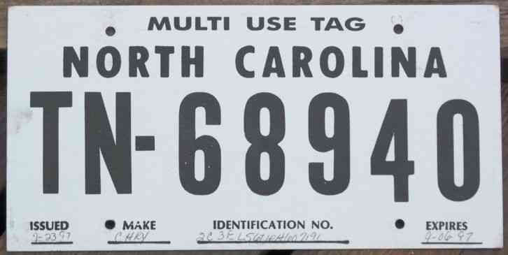 North Carolina 1997 MULTI-USE TEMPORARY TAG License Plate