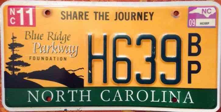 North Carolina Blue Ridge Parkway Mountains License Plate