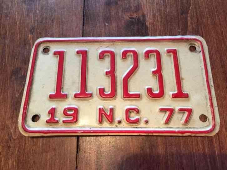 North Carolina Motorcycle License Plate Tag 1977