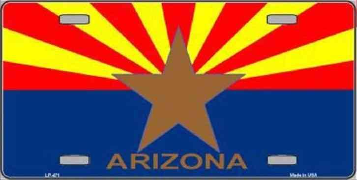 Novelty License Plate Arizona State Flag Plate Metal Ships
