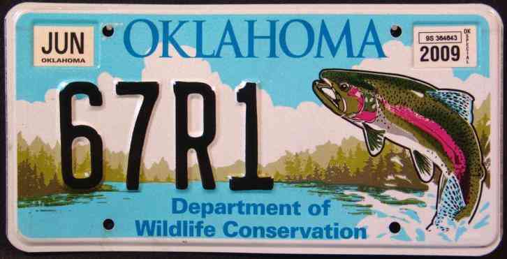Oklahoma wildlife trout fish ok graphic license plate free for Indiana fishing license age