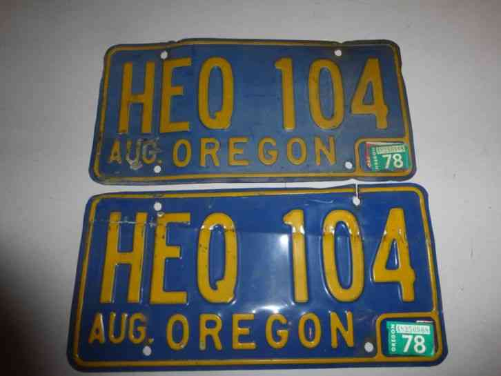 Oregon 1978 license plate expired 2 plates for When does fishing license expire