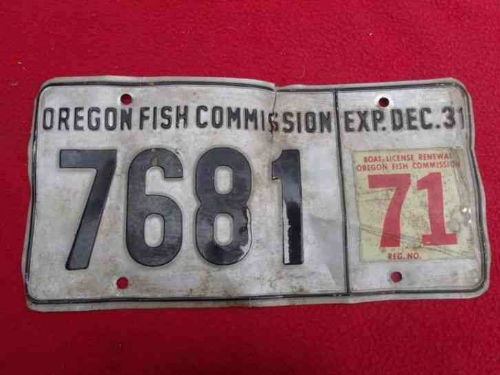 Oregon fish commission license plate 1971 for Pa fishing license prices